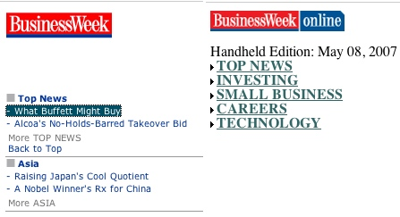 BusinessWeek Mobile Web Sites