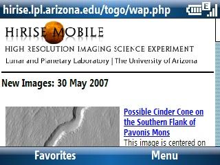 HiRISE Mobile site