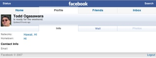 Facebook iPhone site