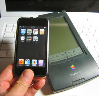 iPod touch, Newton Messagepad 130, and Macbook