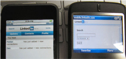 Linkedin Mobile on iPod touch and T-Mobile Dash